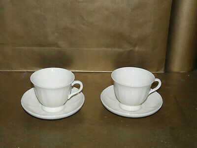 2x wedgwood queens ware queens shape / plain cups and saucers