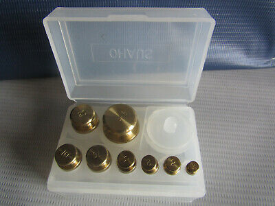 OHAUS Brass Balance Scale Calibration Weight Set x 8 50g 20g 10g 5g 2g 1g in Box