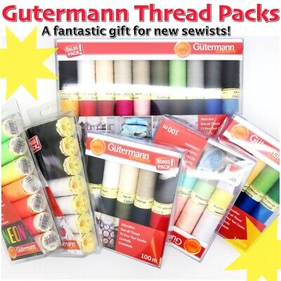 Gütermann Thread PACKS - 100m Reels Sew-All 100% Polyester Machine Sewing Thread