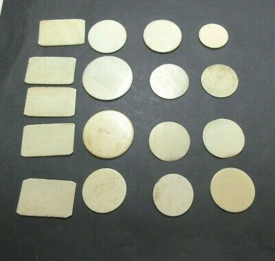 17 x MIXED ANTIQUE BONE  GAMING COUNTERS; ALSO USEFUL  FOR INLAY REPAIRS ETC