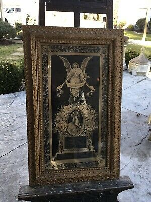 Antique Mourning Memorial Lithograph Oddity 1881 Angel Original Frame And Glass