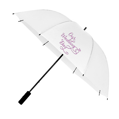 Large White Wedding Umbrella with ''Our Wedding Day'' Design Print in Purple