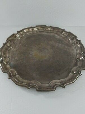 Distressed Haddon Hall large vintage silverplate hetched serving tray farmhouse