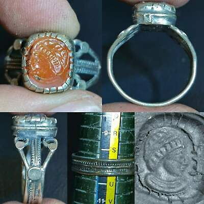 Near Eastern Emperor Face king Agate stone Old intaglio Ring  # 121