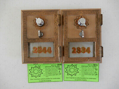 2 -Vintage 1962 Post Office box doors and frame # 2844 & 2834, Made by Federal