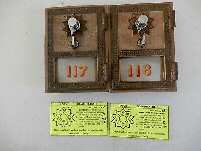 2 -Vintage 1961 Post Office box doors & frame # 117 & 118, Made by Tayco Lock