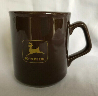 John Deere Logo Ceramic Coffee Mug Cup. Brown. Made in England. Safety
