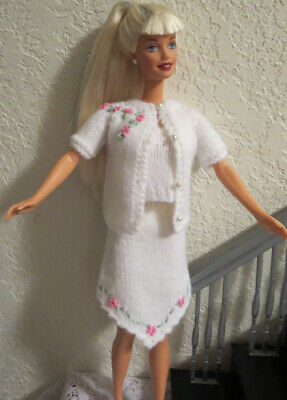 OOAK for STANDARD BARBIE DOLL ~ 3 pc WHITE KNIT SKIRT SUIT w/ EMBROIDERY FLOWERS