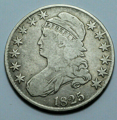 1825 Capped Bust Half Dollar 50C Full Liberty Silver Rare Lettered Edge Coin !