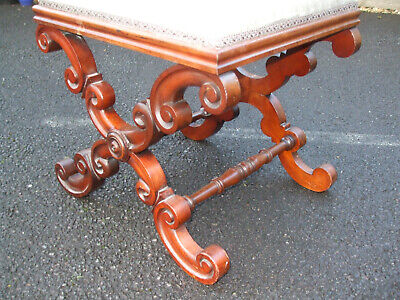 Antique mahogany X frame stool, authentic original, easily recoverable seat pad