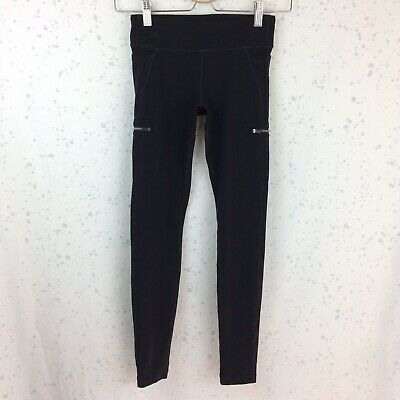 Athleta Girl Size L /12 Black Leggings Zip Pockets Yoga Athletic Run Large