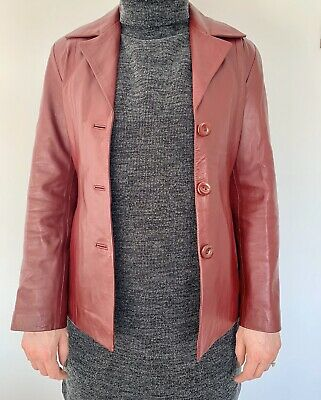 Womens Leather Jacket Medium Size 10 Red Hand Made Genuine Very Soft Leather