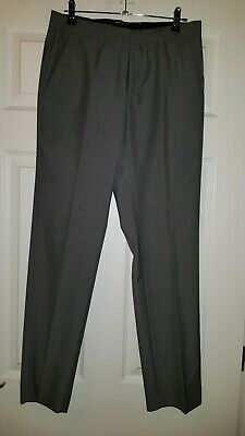 Boys Teenager NEW Slim Fit Straight Leg Grey Smart Trousers RIVER ISLAND 28W 30L