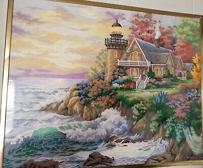 """COMPLETED/FRAMED 16x20"""" Paint by Number Light House by Sea Acrylic on Art Board"""