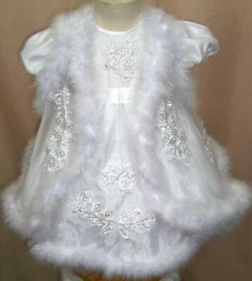 Brand New Baby Girls White Chritening With Fur Dress Size 18-24 Months