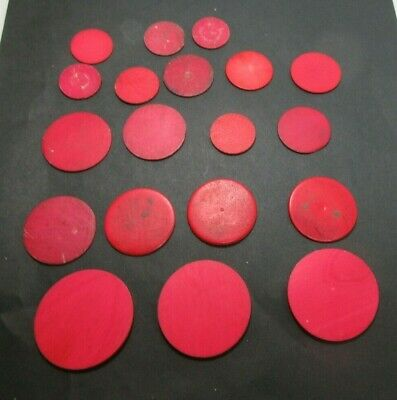 19 x ANTIQUE RED STAINED BONE  GAMING COUNTERS;USEFUL FOR INLAY REPAIRS ETC