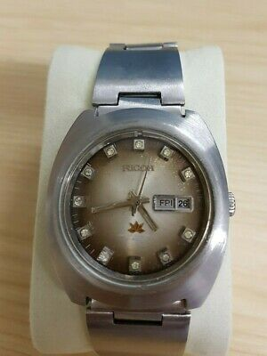 Vintage Ricoh Auto 21jl Gents Watch All Steel Cushion Shape Case Day & Date