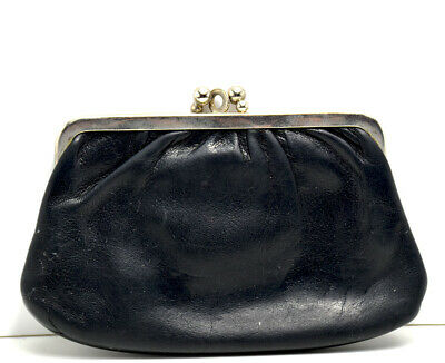 Vintage Hand Made Womens Leather Pouch Wallet Black