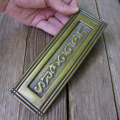Antique Attractive Vertical Brass Letter Box Plate / Door Mail Slot / Mailbox
