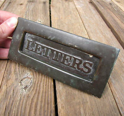 Antique Small Brass Letter Box with Letters on the Flap / Door Mail Slot Mailbox
