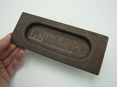 Antique Brass Letter Box Plate / Oval Mail Slot / Door Mailbox