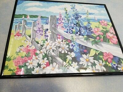 """COMPLETED/FRAMED 16x20"""" Paint by Number Fence & Flowers Acrylic Art Board"""