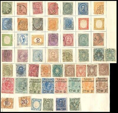 Italy Postage Stamps - Some 52 Stamps Stuck in Old 1876 Album Page #507914