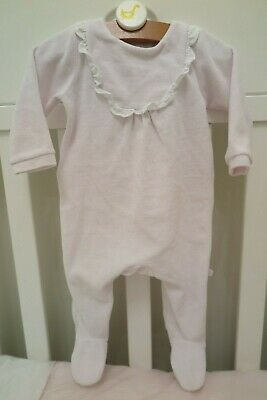 Jacadi Baby Girl Footed Pyjamas in Pink with Ruffled Detail (Size 6M)