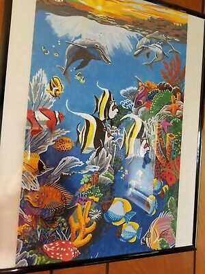 """COMPLETED/FRAMED Paint by Number Underwater Life Acrylic Art Board 16x20"""""""