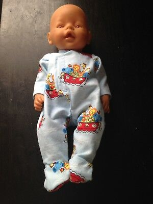 Homemade Baby Born Blue With Animals Coverall Pyjamas