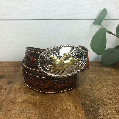 Nocona Western Brown Leather Child's Belt Two Tone Bull Rider Buckle