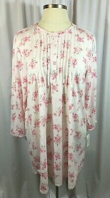 Miss Elaine Floral Pink Nightgown Sizes 1X 2X Long Sleeves Cuddleknit Fleece