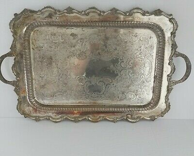Large butler MOUTS distressed serving silver plate footed tray with handles