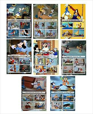 Disney Mickey Mouse Donald Goofy Short Films 16 Souvenir Sheets Unperforated