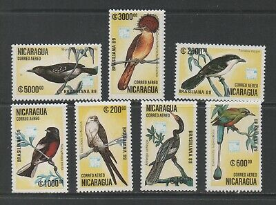 Thematic Stamps Animals - NICARAGUA 1989 BIRDS 7v 3060/6 mint