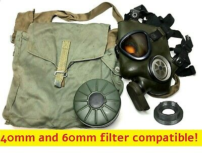 Swedish Skyddmask-51 Gas Mask with 60mm Filter + Canvas Carrier Bag -VTG Surplus