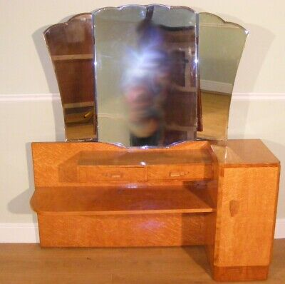 Good Quality Antique Art Deco Maple Dressing Table