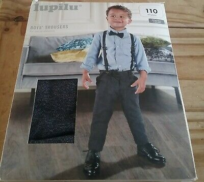 Boys LUPILU Smart Navy Fleck Trousers With Braces 110/4-5 years adjustable READ