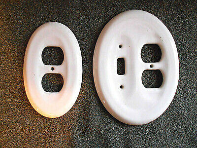 Vintage 2 piece set oval white ceramic outlet cover switch plate