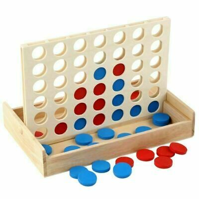 4 in a Row Traditional Wooden Edu Board Game Classic Four in a Line Connect Four