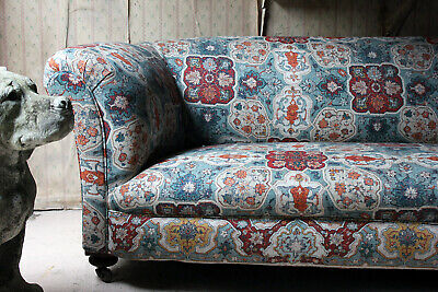Antique Late Victorian Upholstered Chesterfield Sofa Attributed to Shoolbred