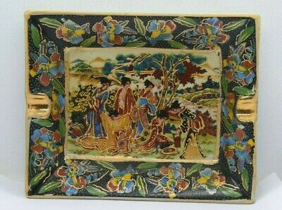 Chinese Oriental Asian Hand Painted Ceramic Ashtray