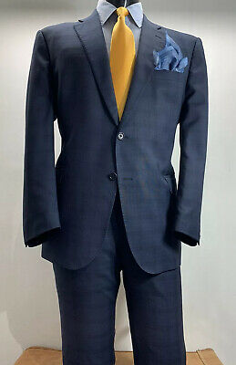 Ermenegildo Zegna Wool Blue Glen Plaid Suit 44 R Made In Italy Flat Fronted