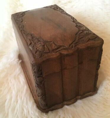 Vintage Wood Hand Carved Playing Cards Box Case Holder Holds Two Decks Wooden