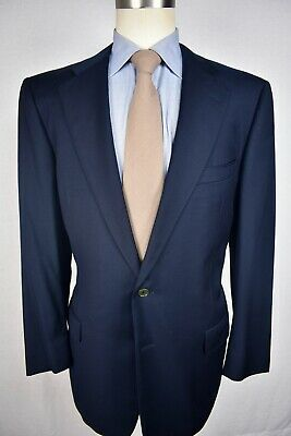 Ermenegildo Zegna Solid Navy Blue Worsted Wool Two Button Suit Coat Size: 44R
