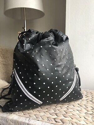 Topshop black genuine leather lightweight slouchy backpack rucksack perforated