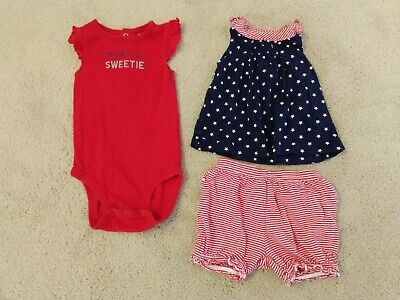 18M NWT~CARTERS~PATRIOTIC//JULY fourth //4TH~RED WHITE+BLUE~SUNDRESS//DRESS~NB 6M