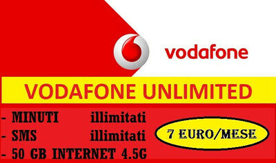 Vodafone SPECIAL UNLIMITED 50 GB/7 EURO mese -  da TIM WIND H3G ILIAD VIRTUALI