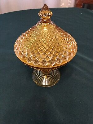Very Beautiful Antique 1930's-40's Glass Candy Dish Yellow