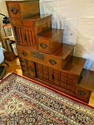 Antique  Japanese 2 Section  6 Step Tansu With Black Iron  Fittings